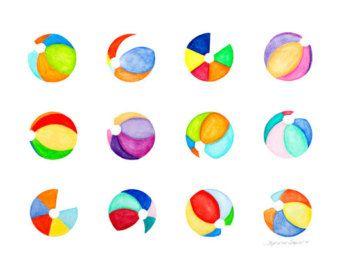 Contemporary Art Watercolor Beach Ball By Coastalfreshdesigns