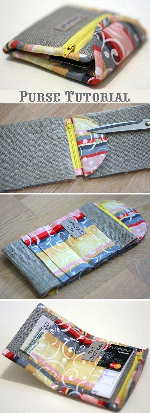 Purse Tutorial Sewing Purse tutorial, Wallet pattern