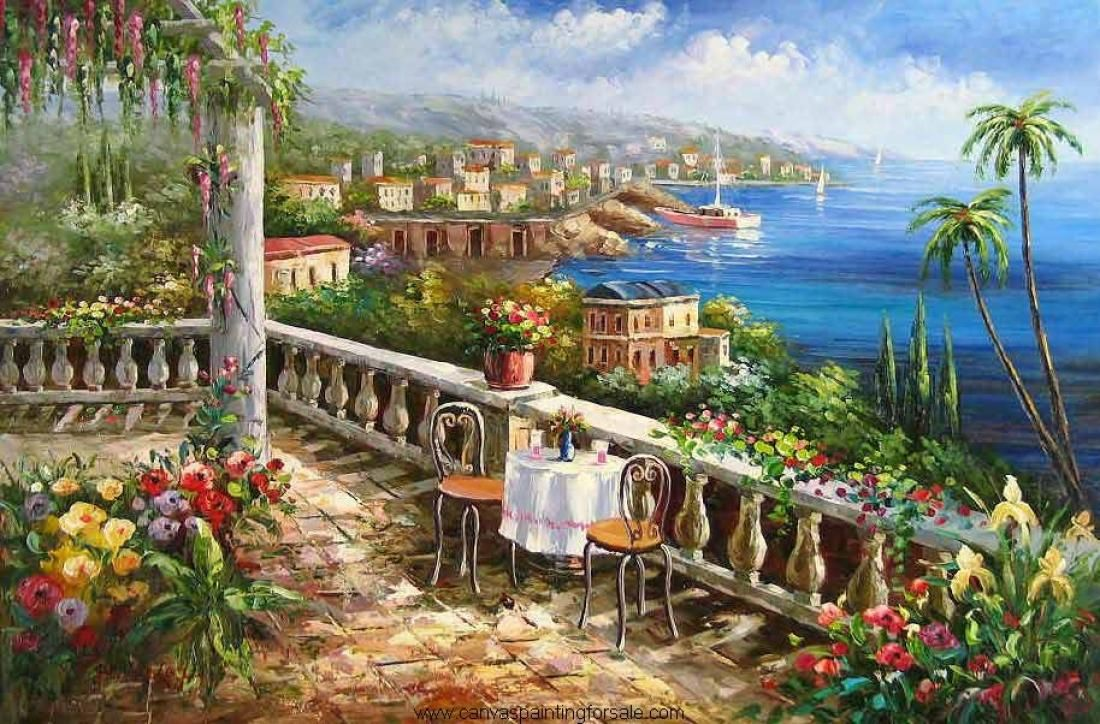 beach terrace paintings Name014 garden Mediterrane