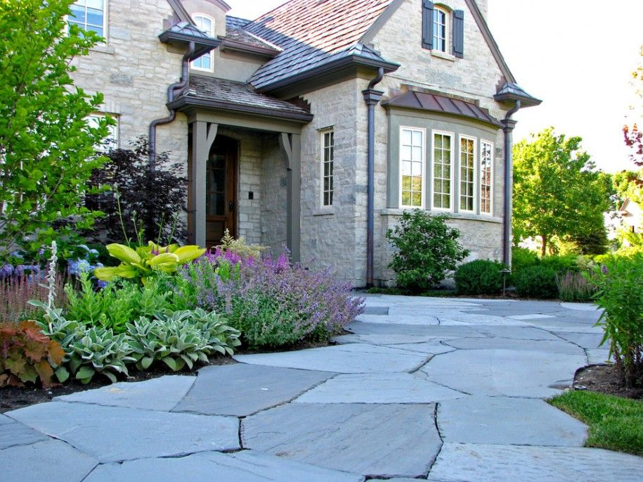 Bay Window Garden Ideas view in gallery grouping of plants in a greenhouse window Decorating Bluestone Walkway With Shrubs And Perennials Also Trees For Front Yard Landscaping With Front
