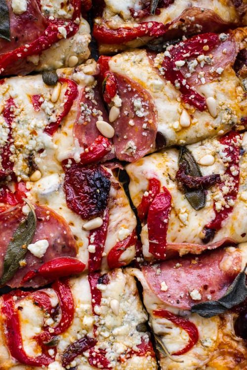 Sun Dried Tomato & Olive Pesto Pizza with Salami & Roasted Red Peppers (Source: Half Baked Harvest)