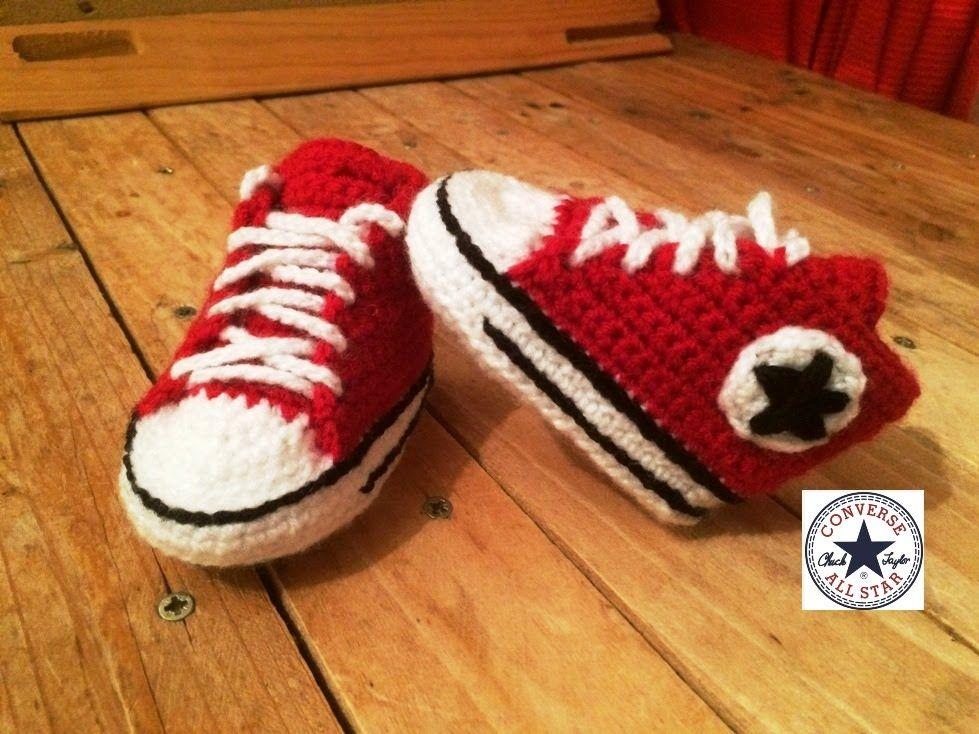 ab72eb4d2c106 Tuto crochet   Converse chaussures bébé 1  zapatitos all stars crochet 1