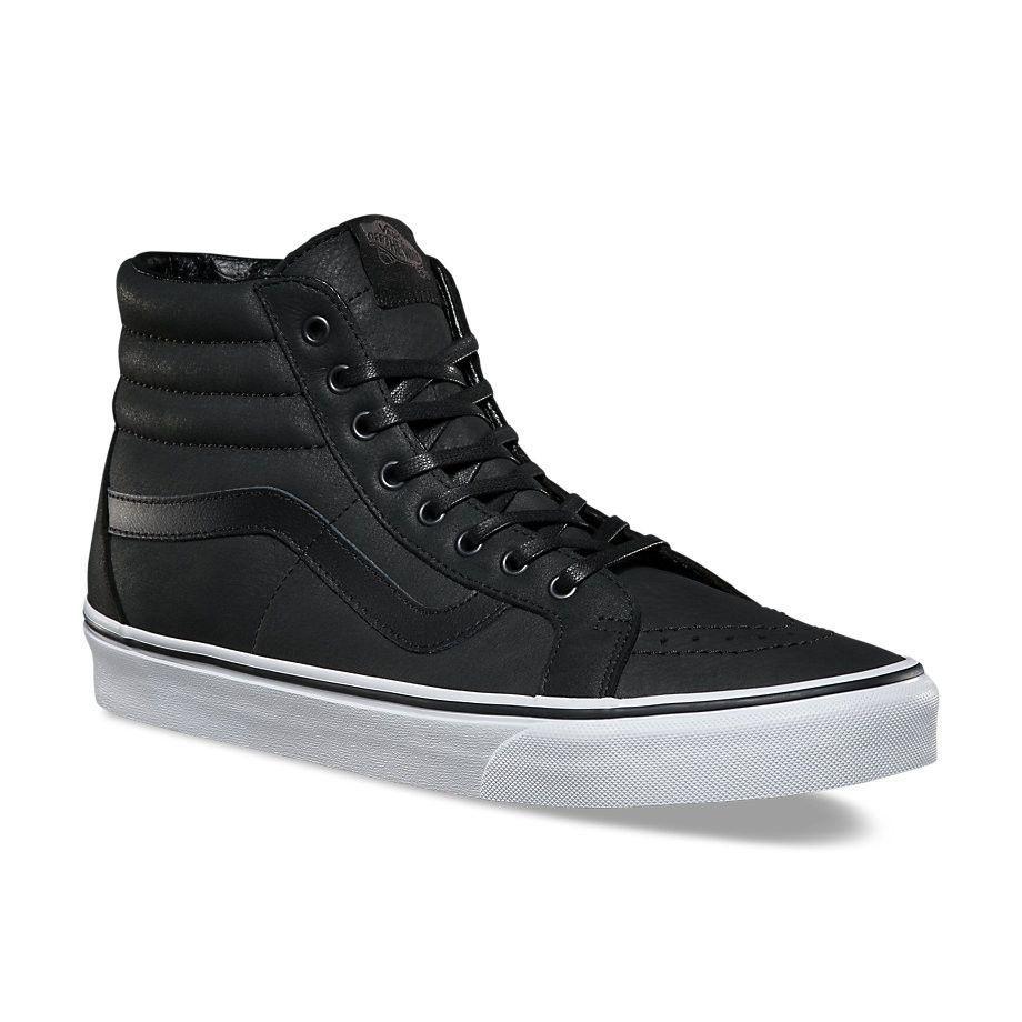 vans shoes black and grey, Vans Premium Leather SK8 Hi