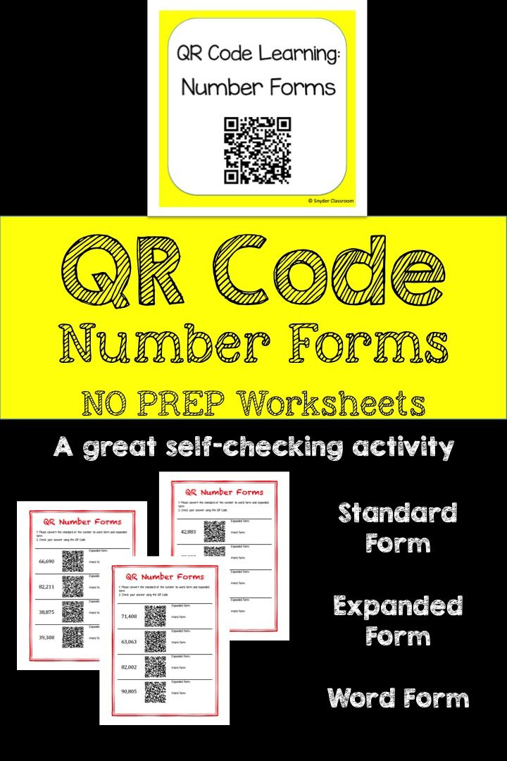 Qr Code Expanded Form And Word Form Worksheets Expanded Form Qr