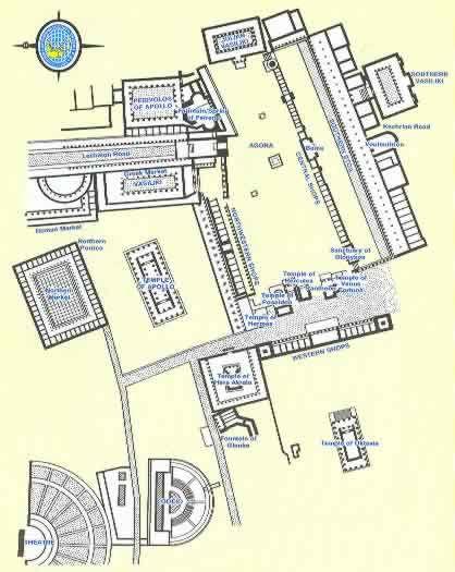 Ancient Corinth Greece Travel Destination Tour Map Corinth
