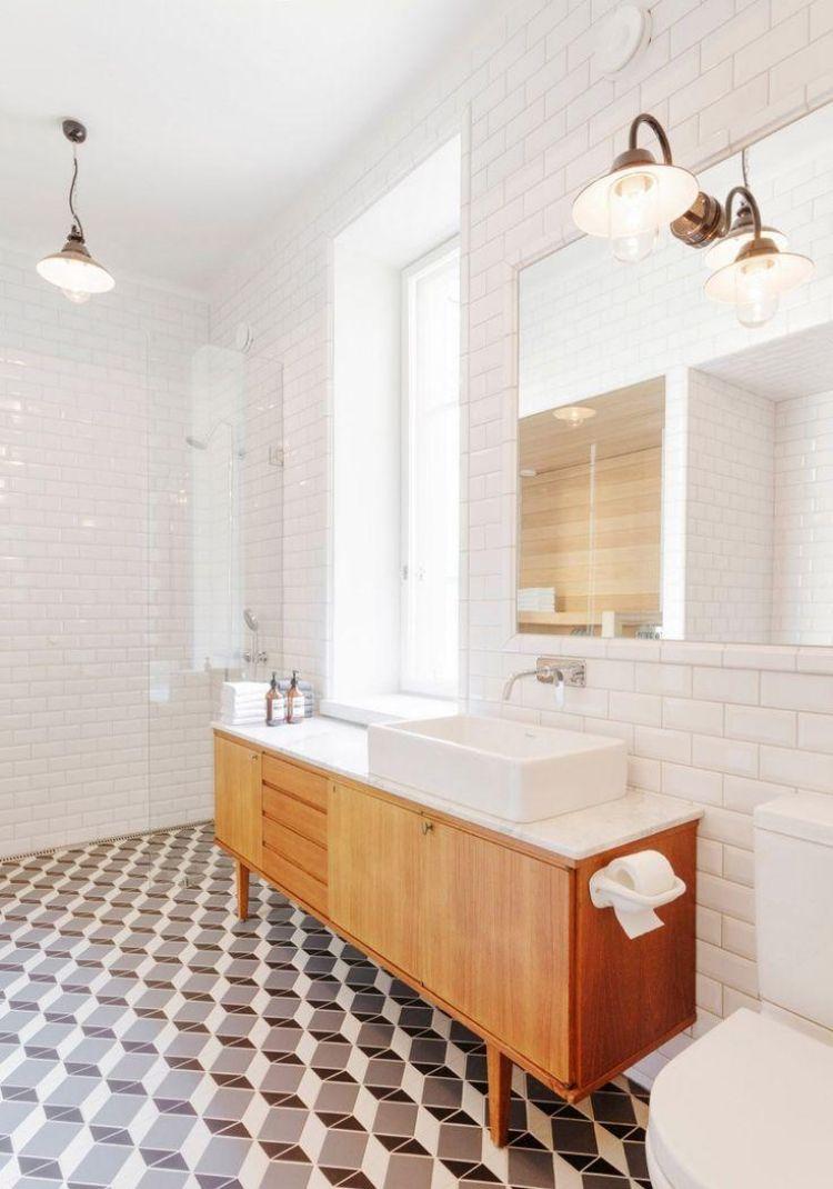 Badmoebel Holz Waschschrank Vintage Fliesen Boden Figur Weiss Retro Modernes Badezimmerdesign Badezimmer Innenausstattung Badezimmer