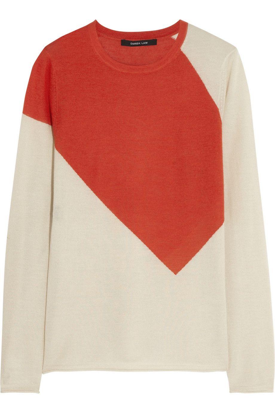 Derek LamColor Cashmere Net Blend Block And A Silk Sweater CshQoxtdBr