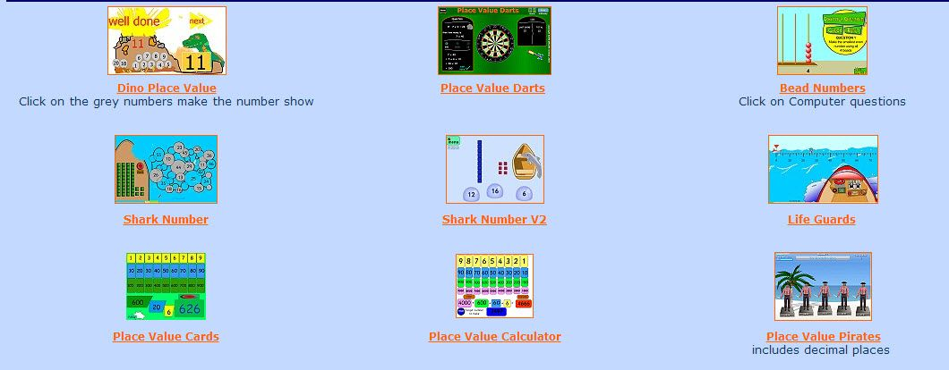 Lots Of Great Online Games On Place Value From Woodlands Primary