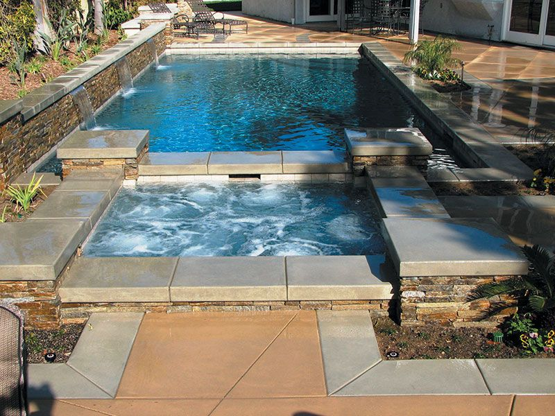 beautiful pools - Rectangle Pool With Spa