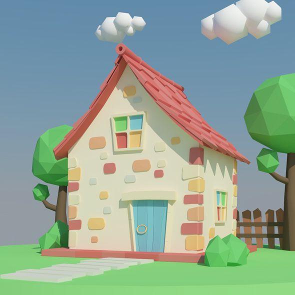 Low Poly House. Editable 3D model of a house. #3D #3DModel #3DDesign #3DScene #VR #AR #cartoon #fantasy #home #house #LowPoly