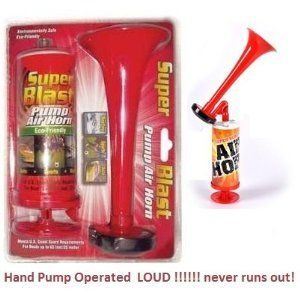 "Dr. Jordan's Air Horn - Loud - Hand Pump Never Runs Out Super Horn by Dr. Jordan. $2.78. Dr. Jordan has really done it with this great noise machine! A full size 8"" Horn gives a nice Loud Blast To operate just PUSH the piston HARD for loud blast or slower for quieter effect. Piston is spring loaded so you can blast blast blast all day!   Great for boats or cars or other emergency situations as it always works!"