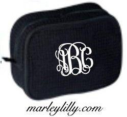 Monogrammed Large Waffle Weave Black Cosmetic Bag