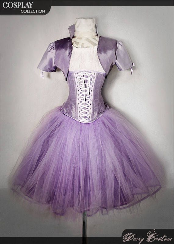 RAPUNZEL FAIRY costume dress, with purple underbust corset, white plumetis top, wide tulle skirt and a bolero jacket