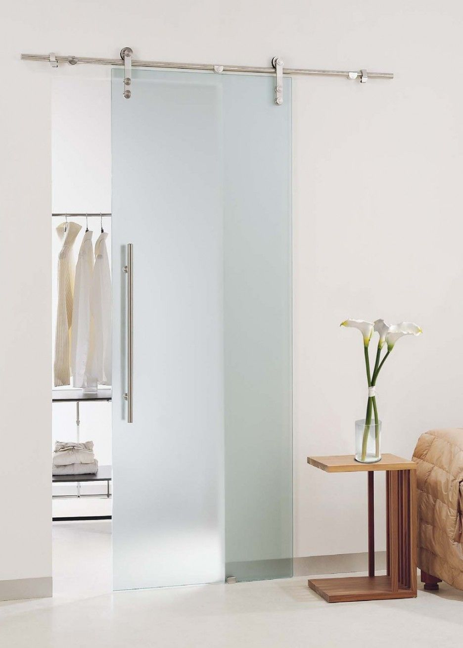 Exquisite Frameless Sliding Glass Doors With Iron Brash Handgrip And Stainless Steel Hang Rods Feat Double Wheel Mounted In White Wall For Top Hanging Sliding Doors Inspiration. The room is like no door for using the transparent glass door without a frame. Very interesting. but you should notice is sure to install these doors are appropriate and safe for the whole family.