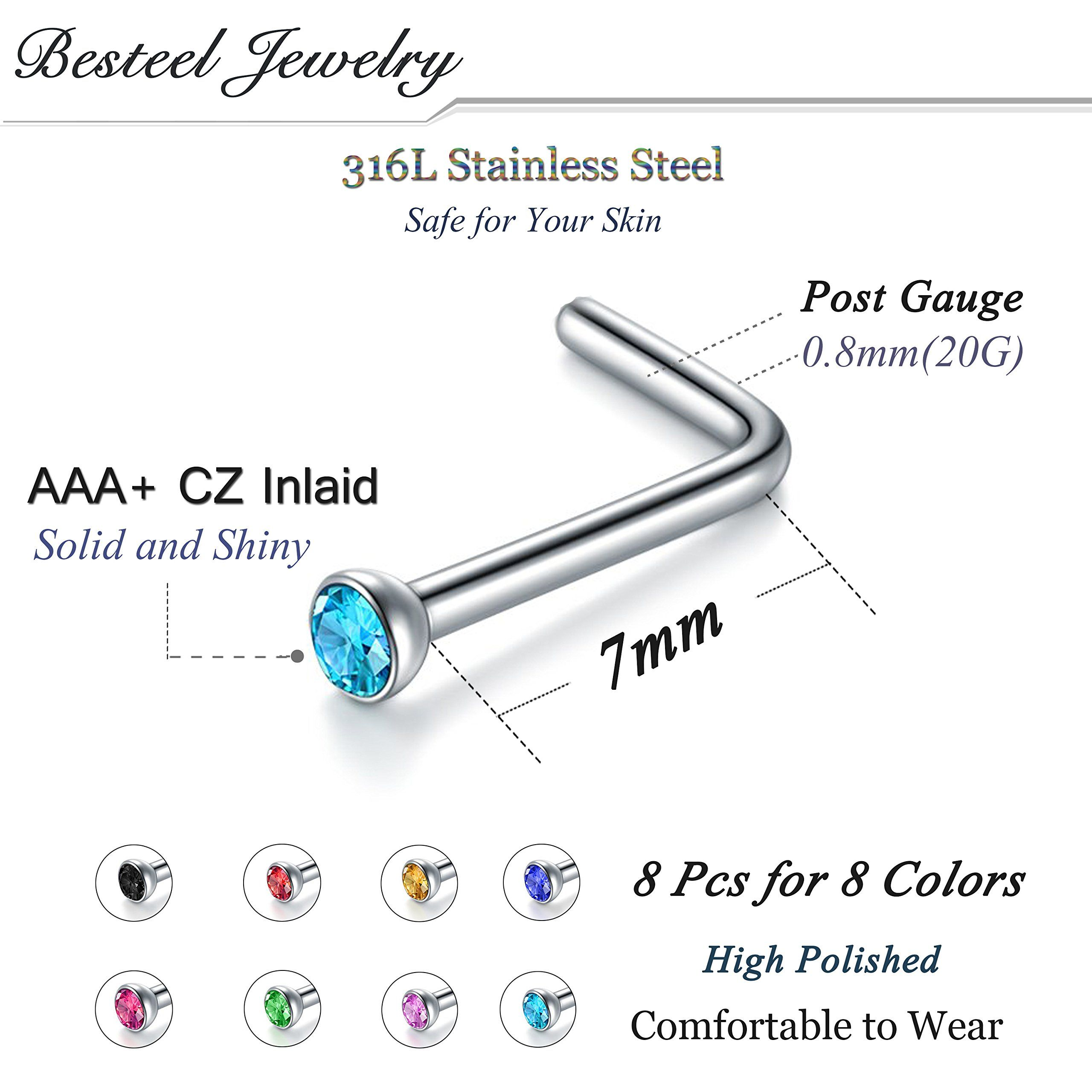 16g 16 gauge 1.2mm 3//8 10mm horseshoe steel ring circular barbell eyebrow bars tragus BBOW Jewelry 3pcs