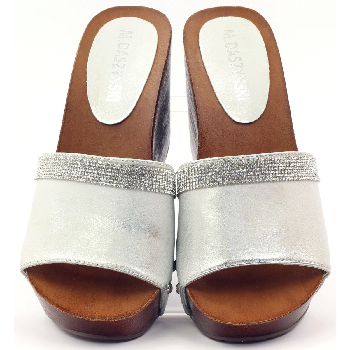 Klapki Na Koturnie Daszynski Z Cyrkoniami Szare Slip On Sandal Sandals Shoes