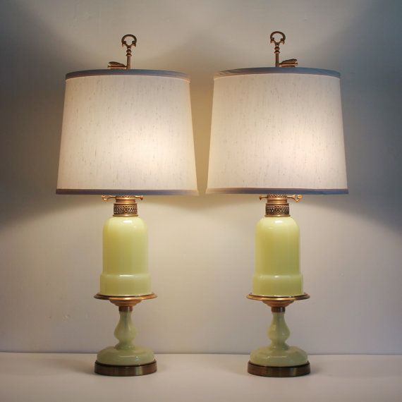 Pair Warren Kessler Opaline Gl Lamps In Yellow Green