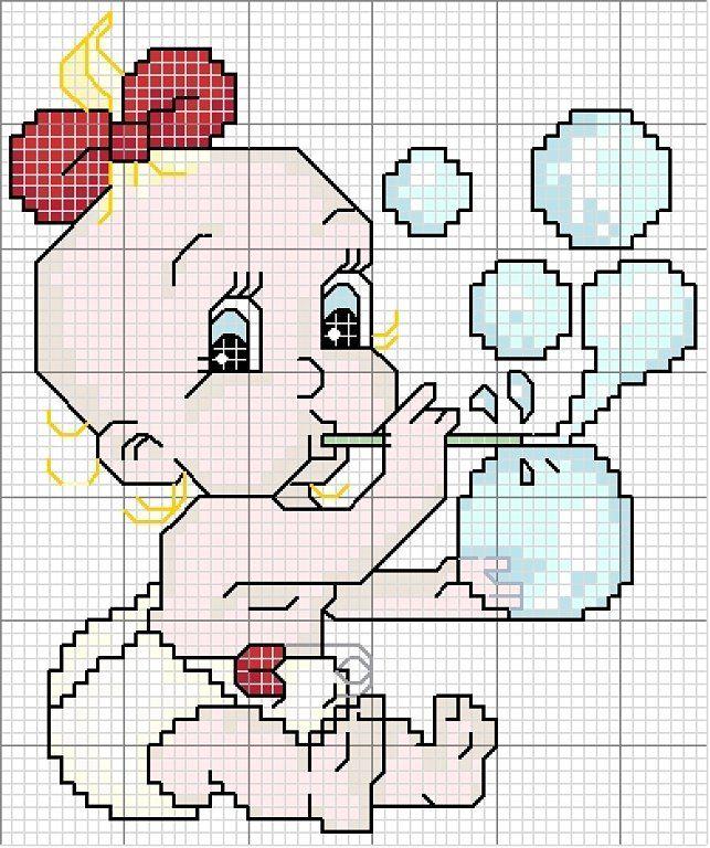 patron punto de cruz para toalla de bebé | cross stitch | Pinterest ...