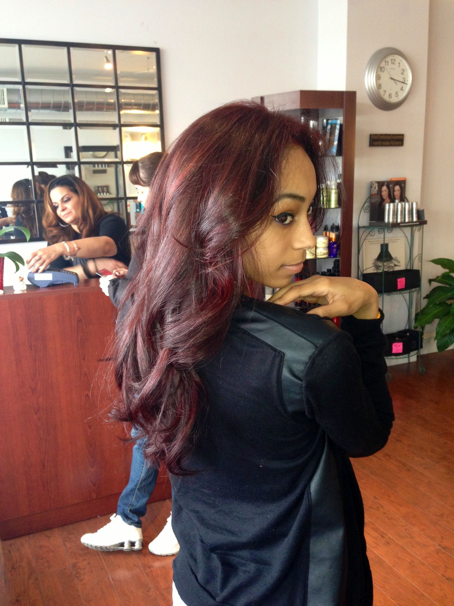 Bright Dark Burgundy Hair On Tan Skin