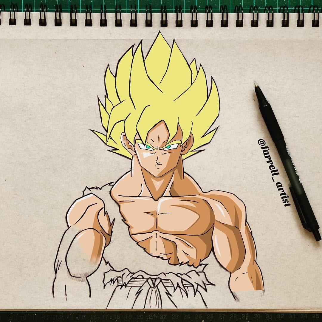 Half Coloured Goku Original Sketch In Biro Color Done In Procreate On Ipad Pro Dbz Goku