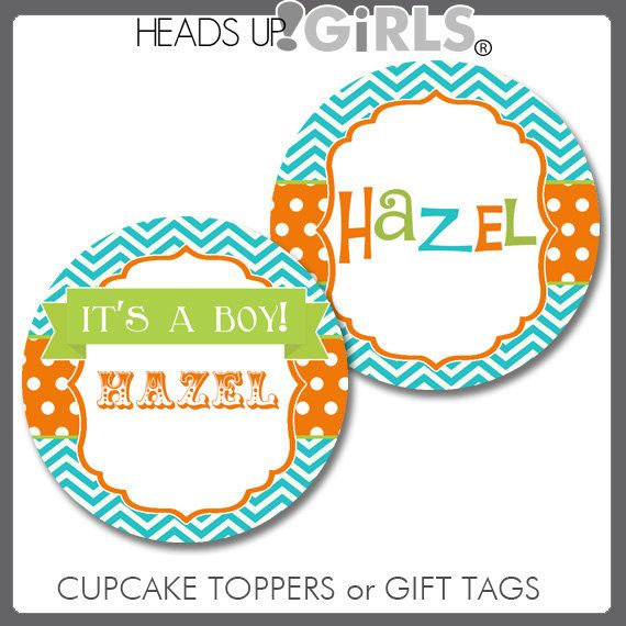 Personalized Snips & Snails Aqua Orange and Lime Green Cupcake Toppers or Gift Tags by HeadsUpGirls, $8.00