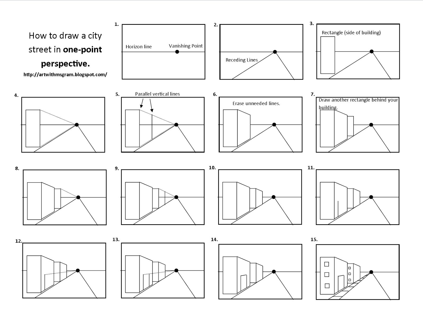 Simple Perspective Drawing For Kids Onepointperspectiveworksheets One Point Perspective City Png 1 600 1 236 Perspective Art One Point Perspective Art Lessons