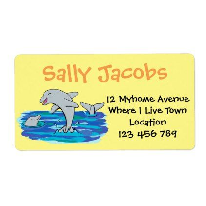 Cute dolphins cartoon address or book label book labels cute dolphins cartoon address or book label cyo customize design idea do it yourself solutioingenieria Images