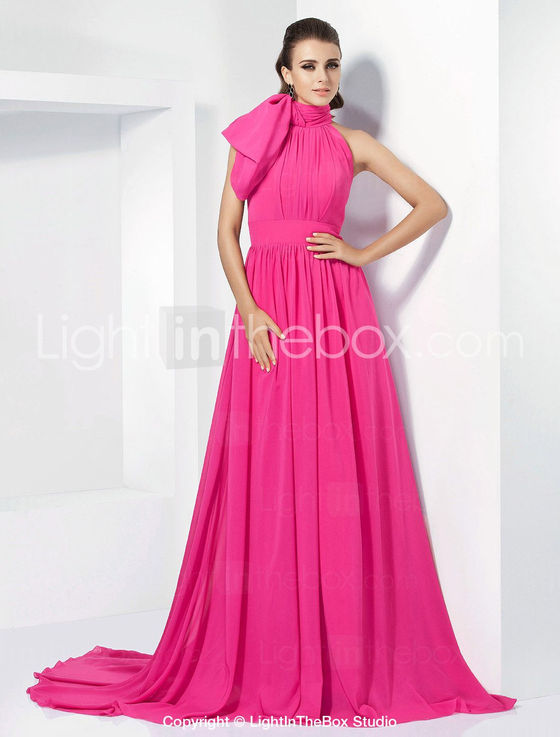 A-Line High Neck Court Train Chiffon Vintage Inspired Formal Evening ...