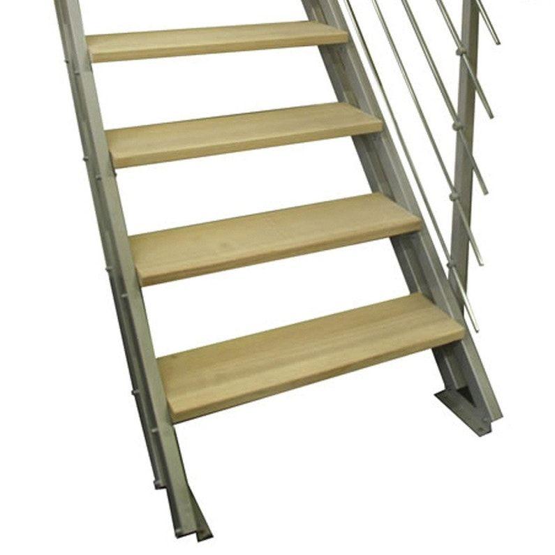 Escalier Droit Acier Gris Escavario 4 Marches Naturel L 80 Cm