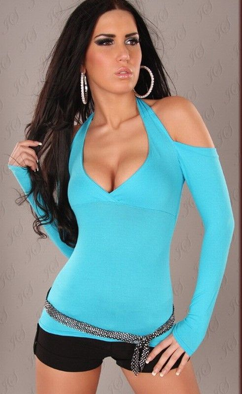 b2d7d30e9fc Body shaping muti color tight stretched halter bare shoulder low cut sexy  tshirt sexy clubwear
