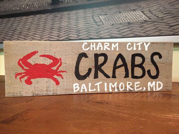 Charm City Crab Baltimore Maryland, Home Decor, Reclaimed Wood - Reclaimed Wood Baltimore WB Designs