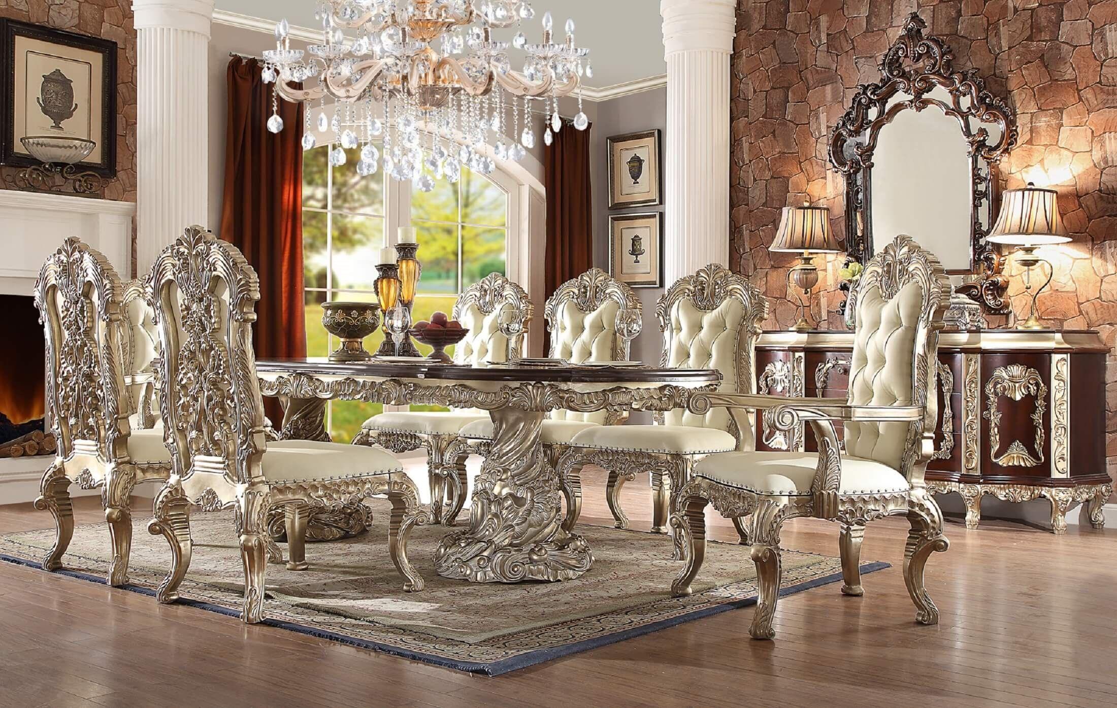 Homey Design Hd 8017 Cleopatra Double Pedestal Dining Set Formal