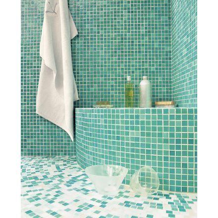 mosaique salle de bain pates de verre Menthol, marque Opiocolor