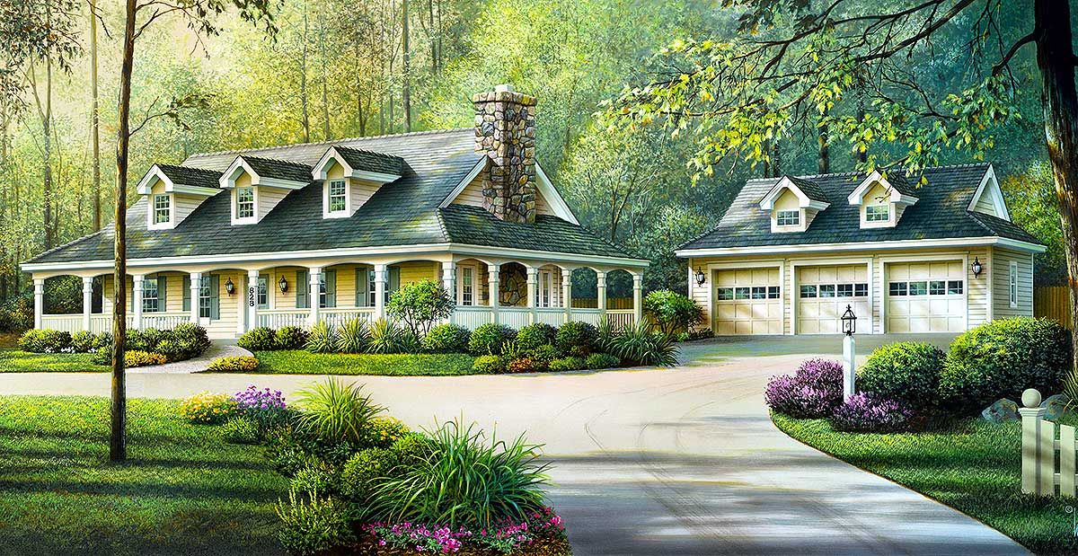 Plan 57094ha Country Ranch With Detached Three Car Garage Victorian House Plans Southern House Plans Basement House Plans