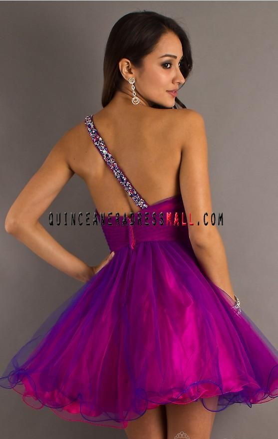 sweet 16 parties for girls blue and purple | shoudler purple tulle ...