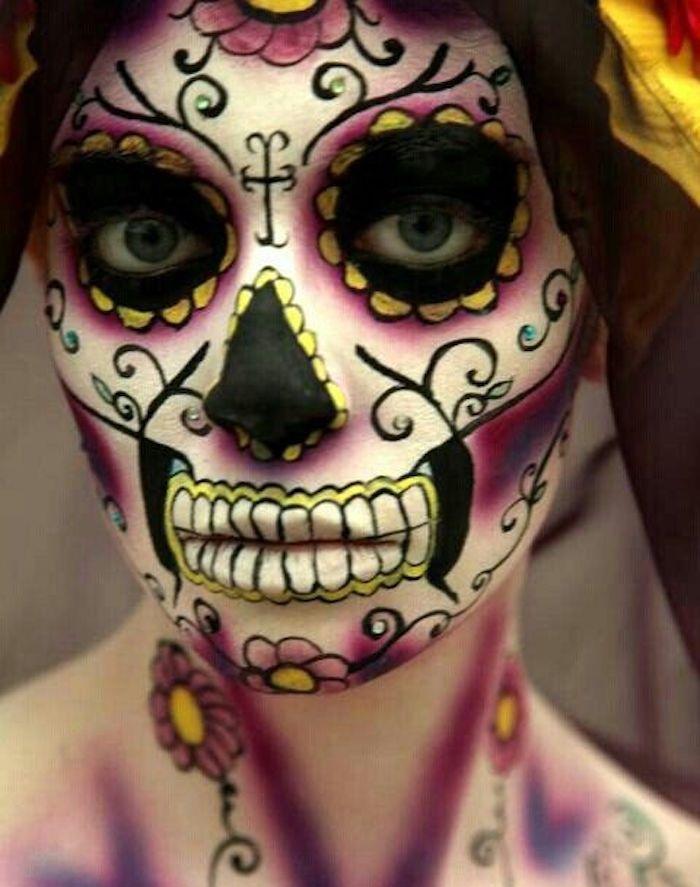 1001 id es maquillage squelette mexicain maquillage squelette et squelette. Black Bedroom Furniture Sets. Home Design Ideas
