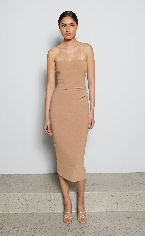 Elke Strapless Midi Dress Caramel Bec Bridge Strapless Midi Dress Midi Dress Dresses [ 3121 x 1920 Pixel ]