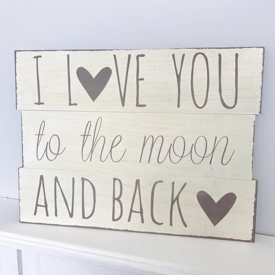 Love Plaques Quotes I Love You To The Moon & Back Wooden Slatted Plaque  Jelly Bean's