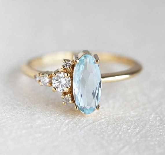 Oval Diamond Aquamarine Ring, Large Cluster Engagement Ring, Solid Gold Band with Large 9mm Blue Stone, Unique Engagement Ring