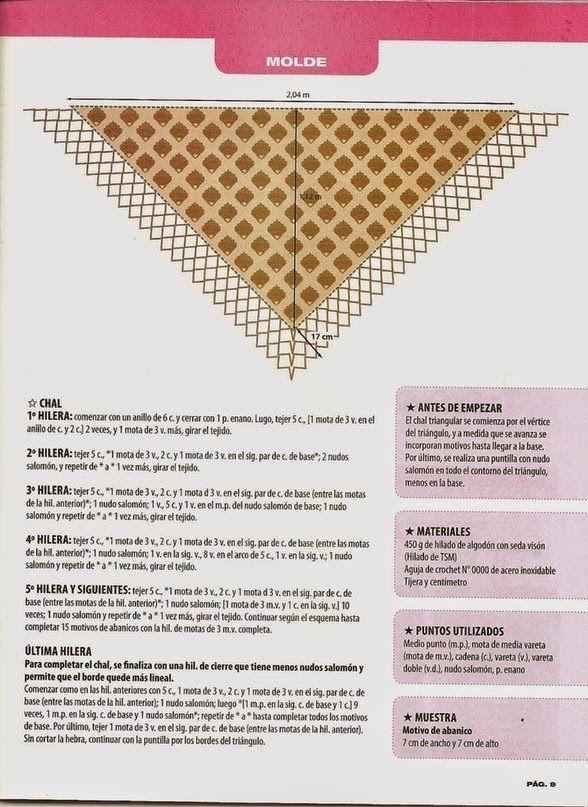 chal+foulard+abanicos+crochet+patron2.jpg (588×807)   chal de ...