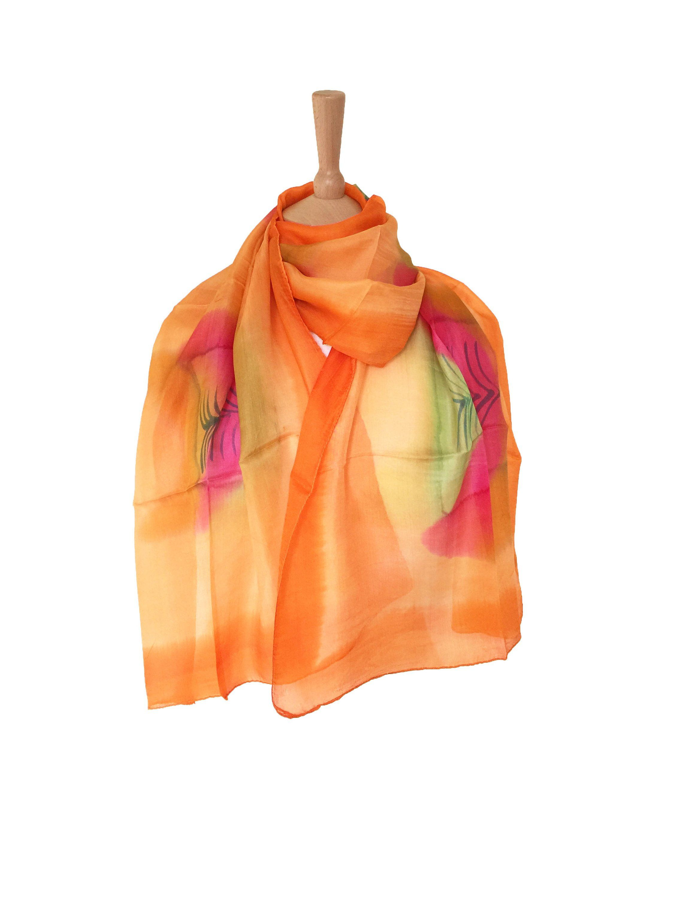 7ec76f241 Silk Scarf For Women Yellow Orange And Green Mothers day Gift , Birth Day  Gift Idea For Her, Ladies Neck Tie Kerchief Muffler Bandana Wrap by ...