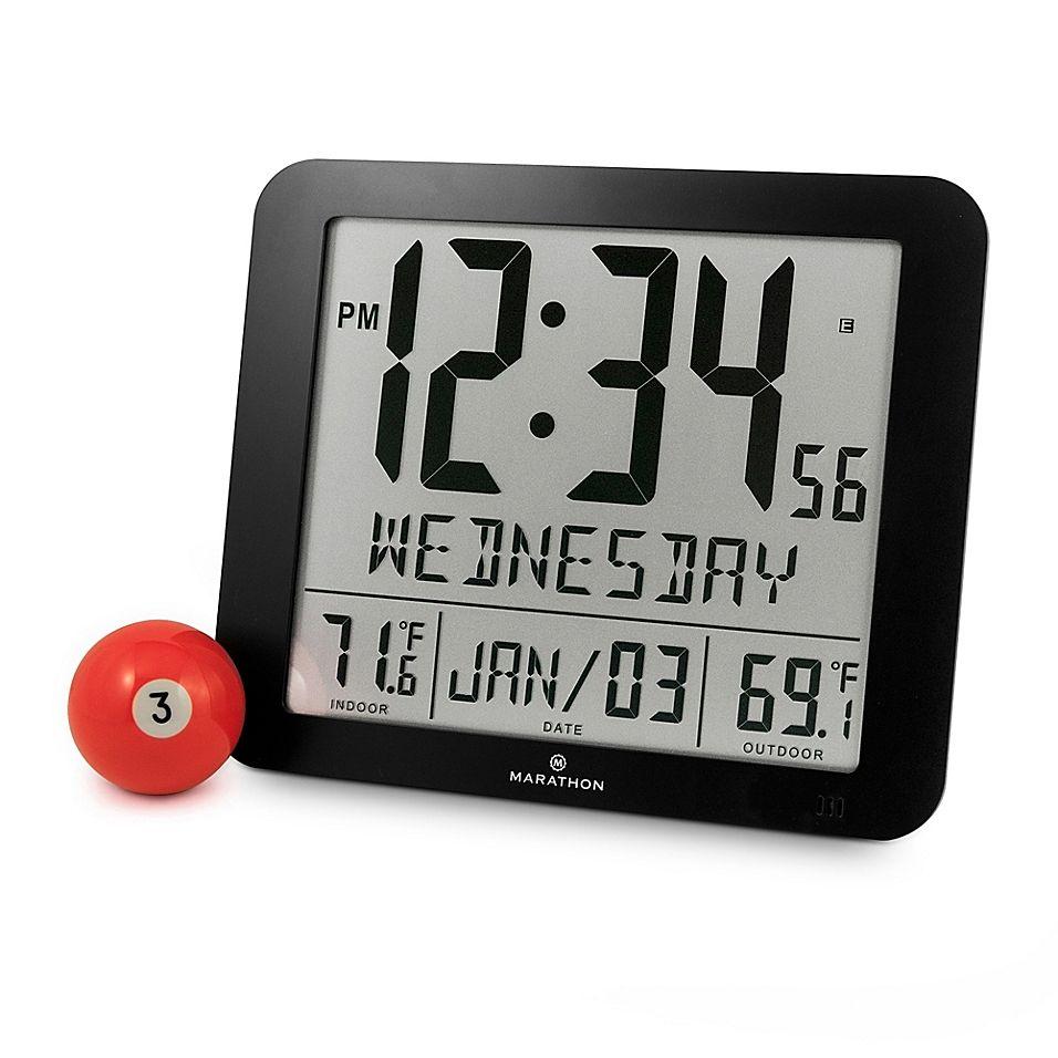 Large Display Slim Atomic Digital Clock With Indoor Outdoor Temperature In Black Clock Atomic Wall Clock Digital Clocks