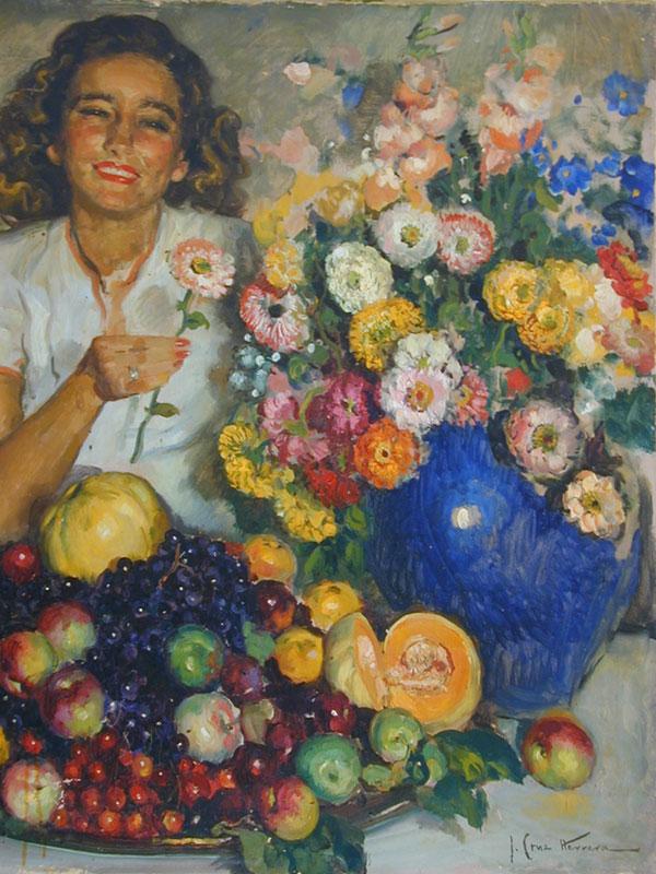 José Cruz Herrera - Mi Hija Amparo con Flores