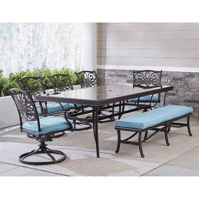 Fleur De Lis Living Carleton Outdoor 7 Piece Dining Set With Cushion Cushion Color Blue 5 Piece Dining Set Dining Set