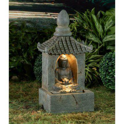 Jeco Buddha Water Fountain With Led Light Water Fountain Buddha Garden Fiberglass Resin