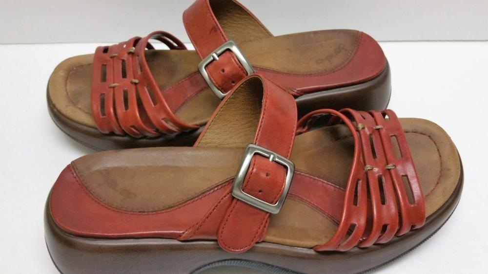 Dansko Lark Women's Orange Strappy Leather Slides Sandals Size 38 Size 7.5-8 #Dansko #Slides #Casual