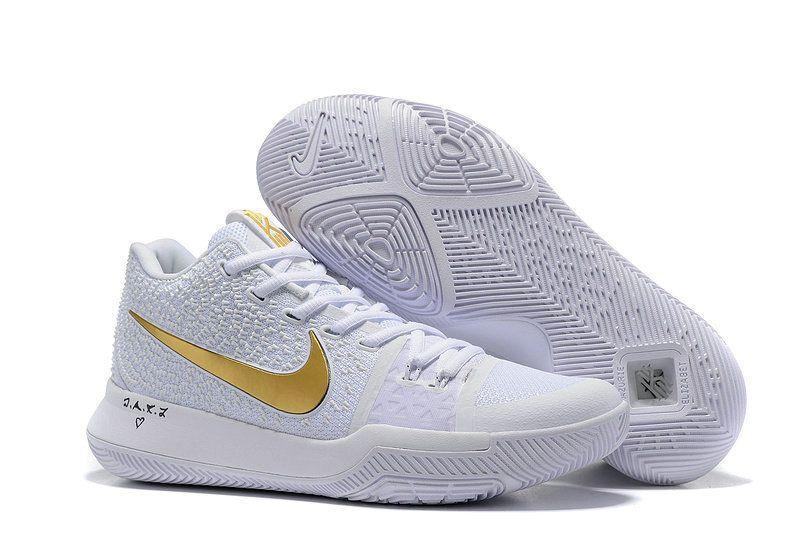 62bf2c913e18 Mens Original Nike Kyrie 3 Basketball Shoes White Gold