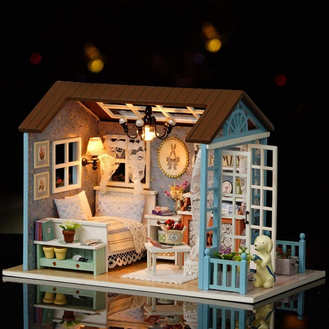 DIY Small House Building Kit Theme Miniature Scene Wooden Mini Educational Puzzle Toys DIY Assembled Model Puzzle Doll House Furnitures Birthday Gifts