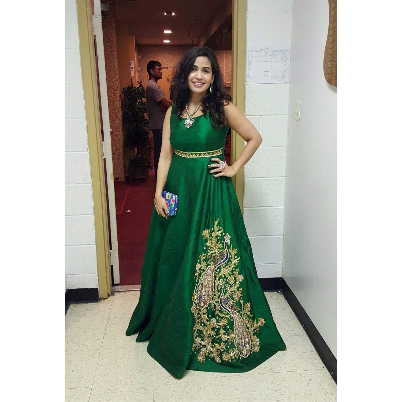 Parineeti Chopra Readymade Green Evening Gown In Satin   Mitali ...