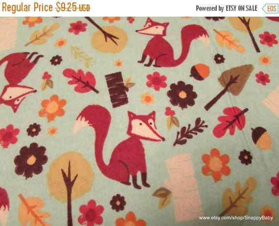 SALE 15% OFF Flannel Fabric  Fall Fox  1 yard  100 by SnappyBaby